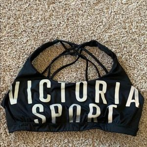 Black and silver VS sports bra